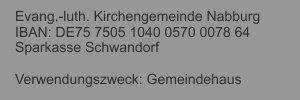 Gemeindehaus Nabburg: Spendenkonto